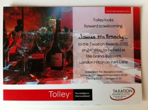 Taxation Awards Dinner 2012 Invite