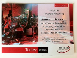 Tolley Taxation Awards 2012 Invitation