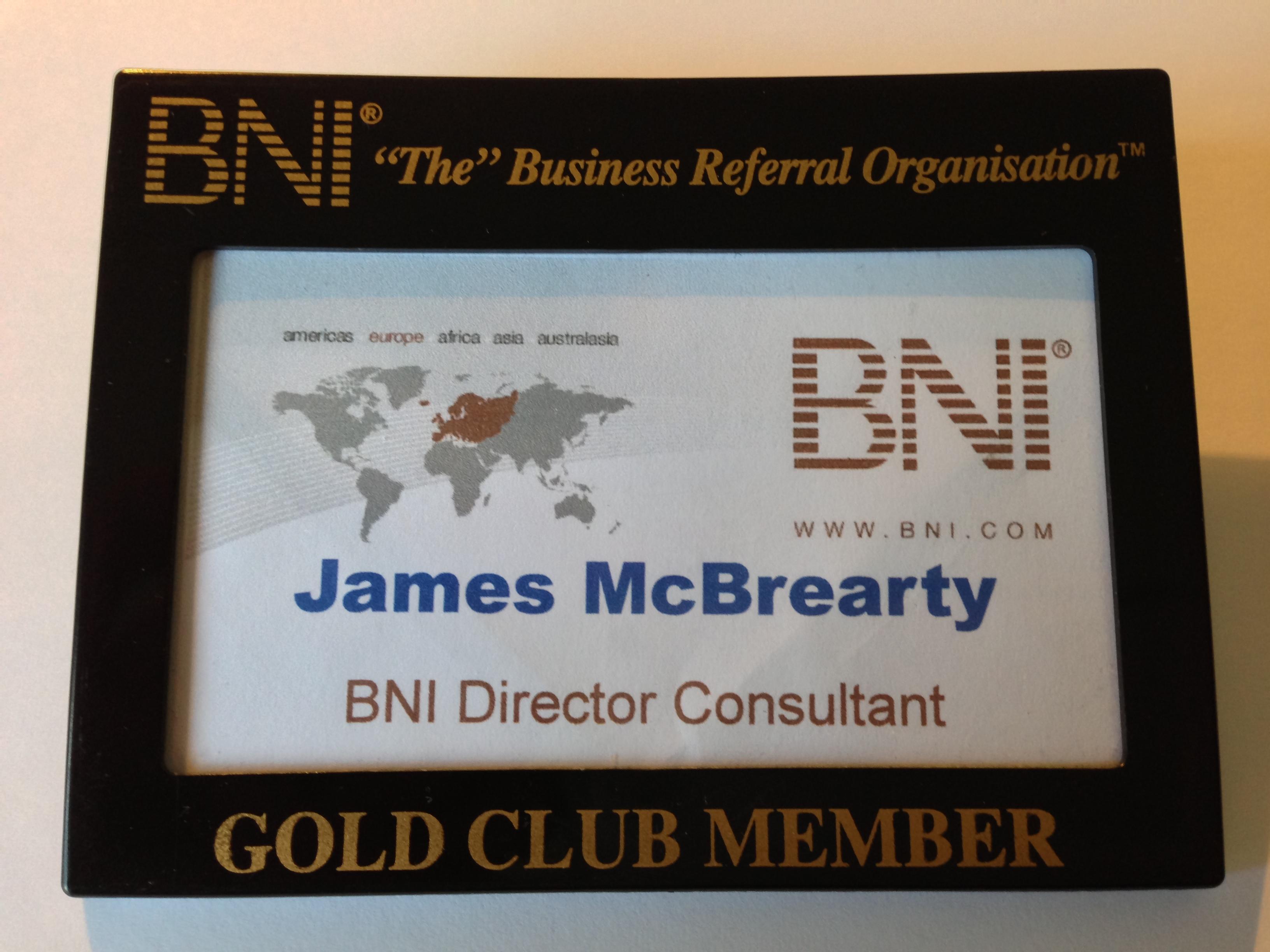 BNI Director Consultant Gold Club Member