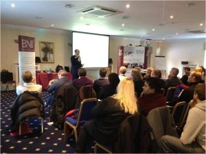 James McBrearty presenting to over 100 business owners in Kent