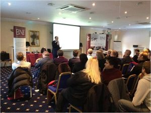 James McBrearty presenting to 100 business owners in Kent