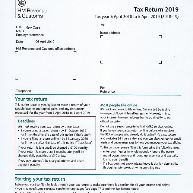 2019 HMRC Tax Return Form SA100