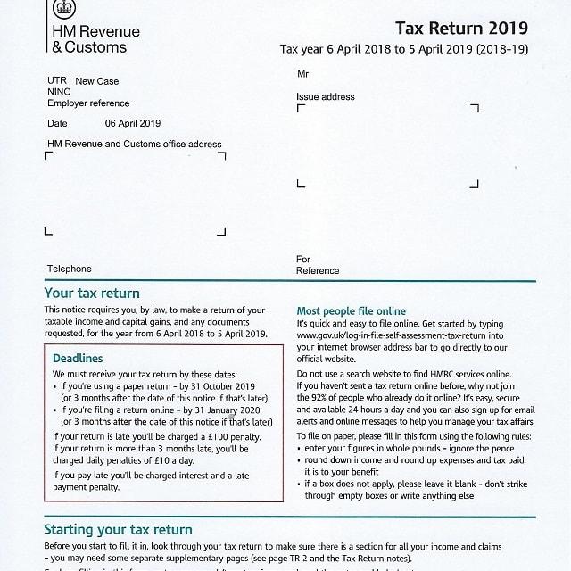 2019 HMRC Tax Return Form SA100