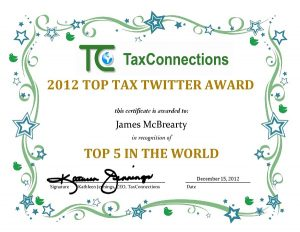 James McBrearty awarded a 2012 Top Tax Twitter award