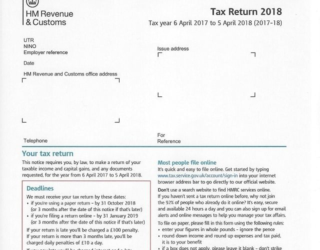 HMRC 2018 Tax Return Form