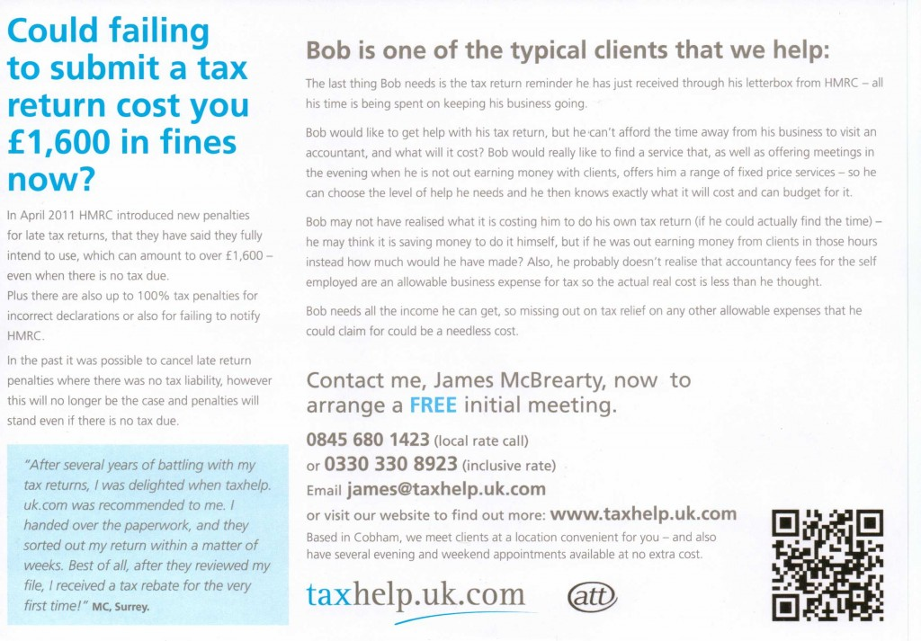 taxhelp.uk.com specialises in helping self employed people pay less tax