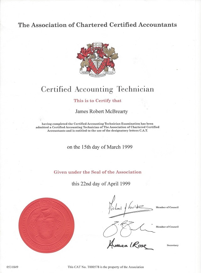 James McBrearty CAT Certificate