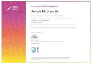 James McBrearty Cyber Security Qualification