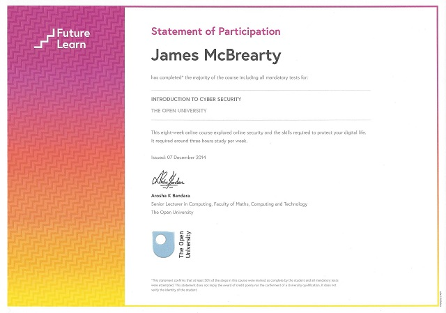James McBrearty Cyber Security Course Completion
