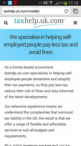 taxhelp.uk.com mobile website
