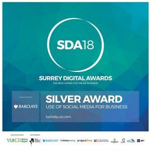 Surrey Digital Award 2018 Silver for taxhelp