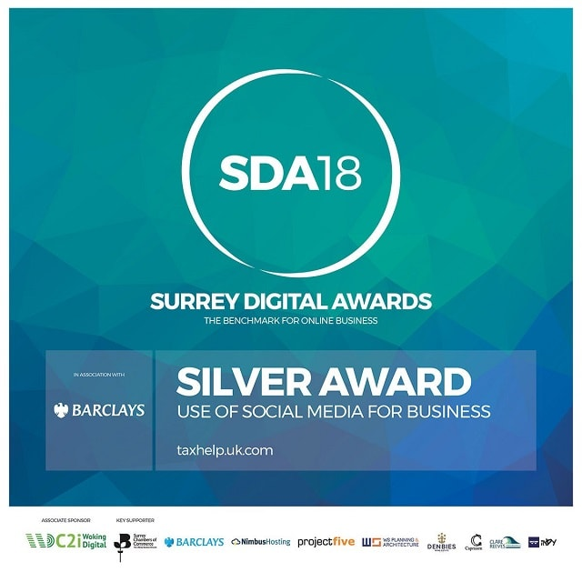 Surrey Digital Award 2018 Silver for taxhelp