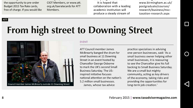 TAXAdviser.February2015.James McBrearty.Downing Street