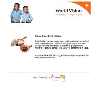 World Vision School Dinner