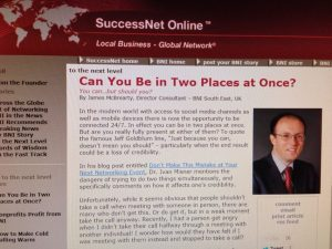 SuccessNet Online - My guest blog post: Being in two places at once