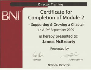 BNI DC Certificate - Supporting & Growing a Chapter
