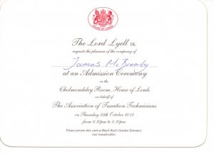 James McBrearty at the House of Lords - Lord Lyell Invite