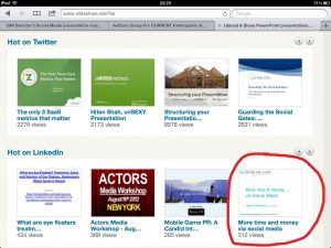My 'More time & money via social media' presentation is the top one on LinkedIn!